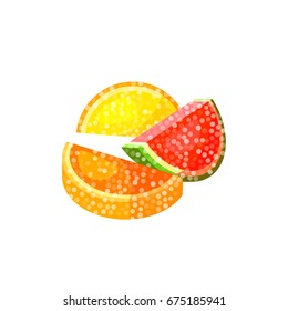 Sweet colorful candied fruits. Vector illustration candy  flat icon isolated on white.