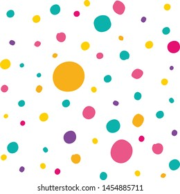 Sweet colorful dragee candy. Multicolored polka dot seamless pattern. Vector template for festive design.