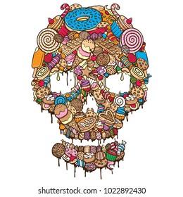 sweet cookies skull illustration