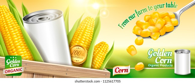 Sweet corn ads with blank tin can and kernels on bokeh green field background in 3d illustration