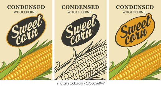 Sweet corn labels in retro style. Set of vector labels or banners for Sweet corn with corn cob and inscription on a light background