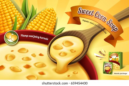 sweet corn soup ad, with cup soup close up and corn kernel elements, 3d illustration