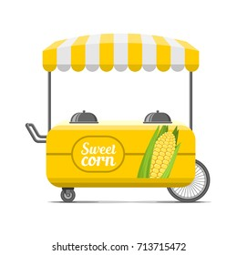 Sweet corn street food cart. Colorful vector illustration, cute style, isolated on white background
