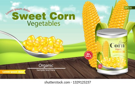 Sweet corn Vector realistic. Metal tin. Product package mock up. Label design. 3d detailed illustrations