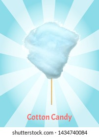 Sweet cotton candy of bilberry taste isolated on blue and white background. Vector confectionery, fluffy sugar summer dessert on stick, tasty food snack. Candyfloss, kids sugar yummy snack