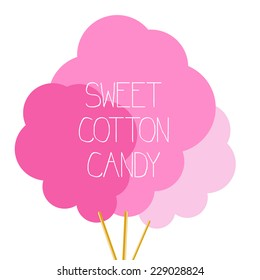 Sweet cotton candy, vector illustration