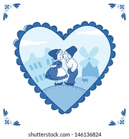 Sweet couple in Delft blue-style. EPS 10. No transparency. No gradients.