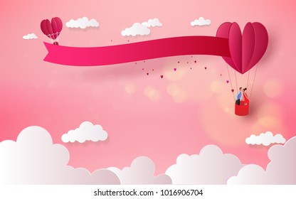 Sweet couple in a hot air balloon on honeymoon vacation summer holidays romance. Love concept. Happy Valentine's Day wallpaper, poster, card. Vector illustration