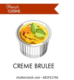 Sweet creme brulee from french cuisine in special dish