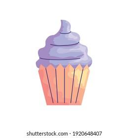 sweet cupcake birthday acuarela style icon vector illustration design