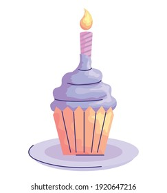 sweet cupcake with candle birthday acuarela style icon vector illustration design