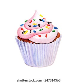 Sweet cupcake with colorful shaving. Hand drawn watercolor painting on white background. Vector option.
