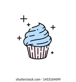 Süße Cupcake-Linie Symbol. Frischer Nachtisch-Kuchen-Symbol. Vektorillustration.