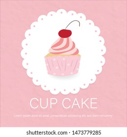 sweet cupcake on lace pink paper background.picture for bakery product food lover full of cream and cherry looks so yummy and delicious label.