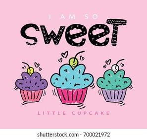 Sweet cupcakes illustration design / Textile graphic print