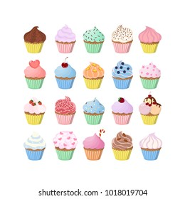 Sweet cupcakes set with decoration and fillings.