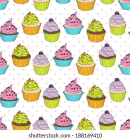 sweet cupcakes vector pattern