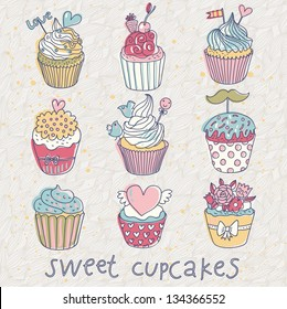 Sweet cupcakes � vector set. Cartoon tasty cupcakes in pastel colors