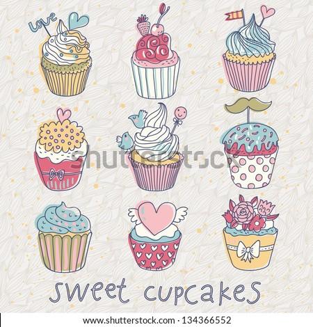 Sweet Cupcakes Vector Set Cartoon Tasty Vector de stock (libre de ...