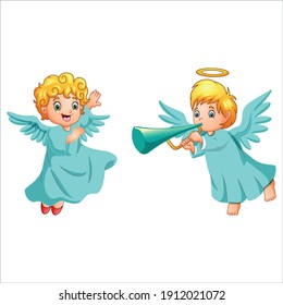 Sweet and Cute angel girl with her ring on the head . Fairy girl looks beatiful. Premium Vector. Isolated in white background