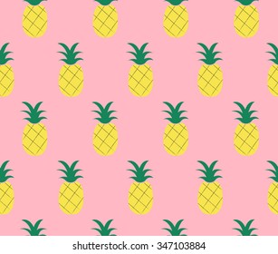Sweet Cute Pineapple Design On Pink Background Seamless Pattern Backdrop Wallpaper Vector Image