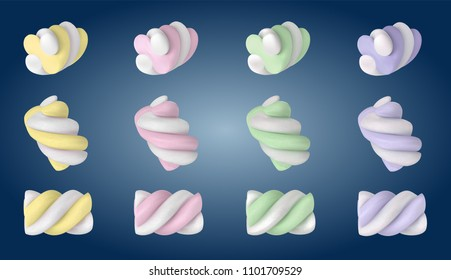 Sweet, cute tasty little colored zephyr, marshmallows. Pastel soft yellow, rose, green, purple colors. Delicious soft sweets Modern vector design