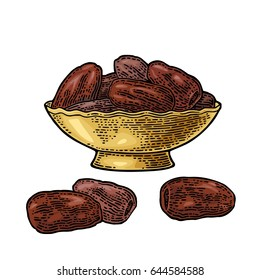 Sweet dates fruit in the metal bowl. For poster or banner Ramadan kareem. Vector color vintage engraving illustration isolated on a white background.