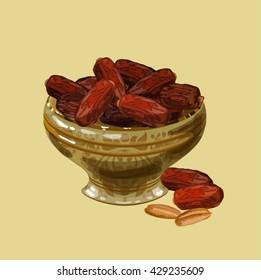 Sweet dates in a nice bowl. Iftar. Suhoor.