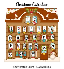 Sweet december christmas advent calendar with dates and traditional decoration vector.