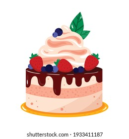 Sweet delicious mini cake. Cartoon style hand drawn vector illustration. Chocolate cake with mouse, cream strawberry, blueberry and peppermint.  For birthday cards, restaurants and bakery menu.