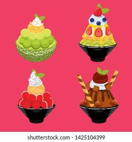 sweet dessert with background, dessert set, bingsu, ice dessert