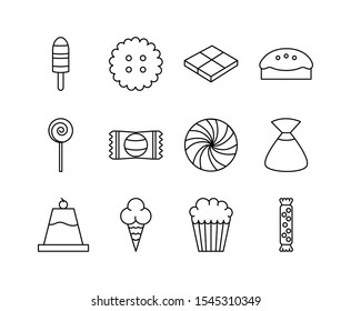 sweet dessert candy and pastry icons set line vector illustration