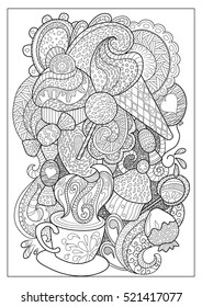 Sweet dessert and coffee outlined vector illustration for coloring. Coffee cup and sweets doodle style coloring page. Adult coloring page with ice cream, lollipop, cupcake, sweets and strawberry