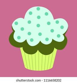 Sweet dessert in flat design Muffin