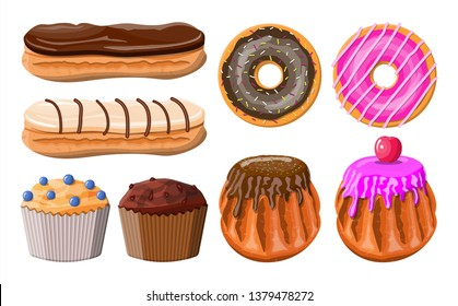 Sweet desserts set. Tasty food. Pastry or bakery. Eclair, donut, muffin. Chocolate cakes with cream custard and berry. Vector illustration in flat style