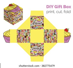 Sweet Do It Yourself DIY cupcake packaging for deserts, candies, small gifts, toys. Printable color scheme. Print it on thick paper, cut out, fold according to the lines.