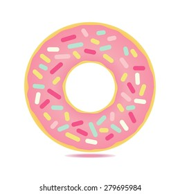 Sweet  donut card with pink glaze and many decorative sprinkles. Can be used as card or t-shirt print or for label, menu