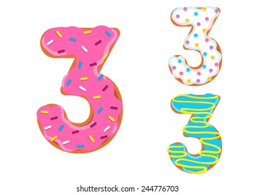 Sweet donut font vector. Number 3