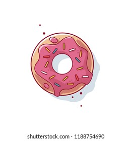 Sweet donut, donut with pink glaze isolated on white background. Vector illustration in a cartoon style. Logo for cafes, restaurants, coffee shops, catering.