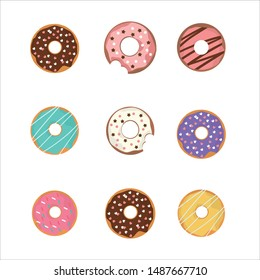 sweet donut set silhouette white cute chocolate glaze yummy decorate sprinkle sugar.deliciouse bakery dessert food celebrate party.snack lover isolate vector pastel