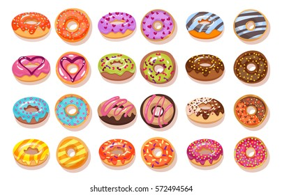 Sweet donut set. The traditional culinary products isolated on pastries background. Cartoon style vector illustration