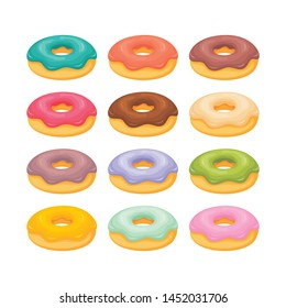 Sweet donuts with different cream topping vector set illustration