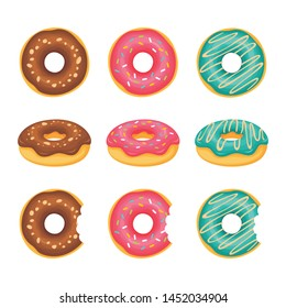 Sweet donuts from different side with different cream topping vector set illustration