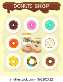 Sweet donuts set design flat food. Doughnut, donuts coffee, donut isolated, coffee and cookies, cake bakery, dessert menu, snack pastry, tasty illustration. Donuts shop. Donut icon. Donuts glaze