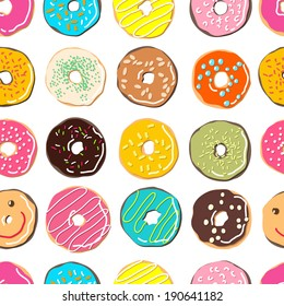 sweet donuts vector pattern