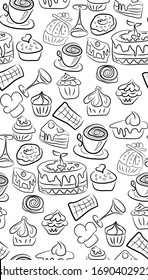 Sweet doodle pattern with cupcakes, cakes, candies and cones. hand drawn seamless pattern