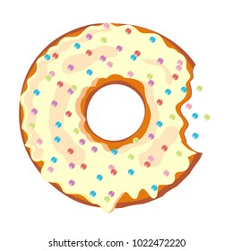 Sweet doughnut with glaze.  Donuts with a mouth bite. Isolated on white background. Vector illustration.