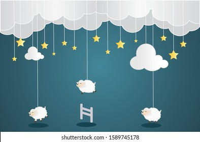 Sweet dream and Good night concept Background. Counting sheep to fall asleep. Cute cartoon sheep jumping over fence. Space for your text. Use for your design.