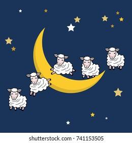 Good Night Sweet Dream Cute Sheep Stock Vector Royalty Free