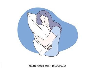 Sweet dream or sleep concept. Sleeping young girl hugs or holding a pillow or overslept to work. The woman took a sleeping pill for insomnia. Vector flat design.